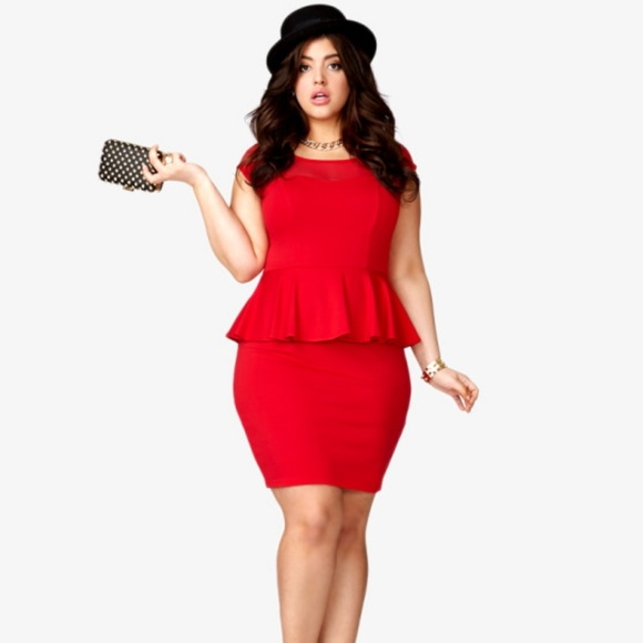 8d40ed77b41 FOREVER 21 PLUS Mesh Peplum Dress Red NWT 3X